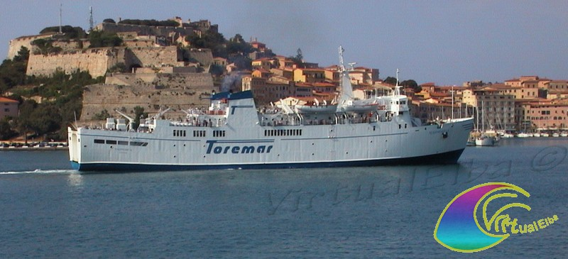 Ferry leaving the port of Portoferraio
